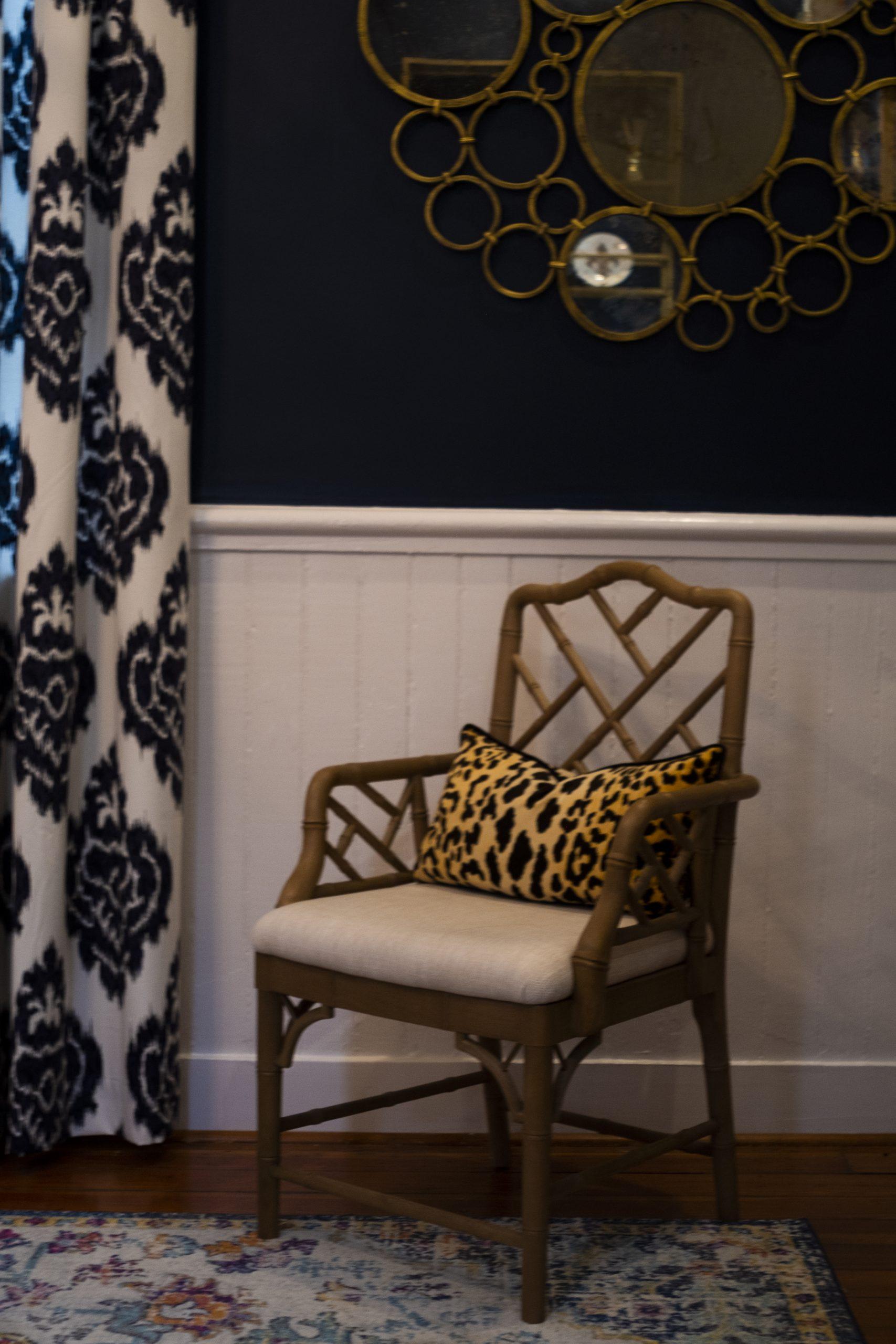 Closeup of Pink Accent Chair with Leopard Print Lumbar Pillow