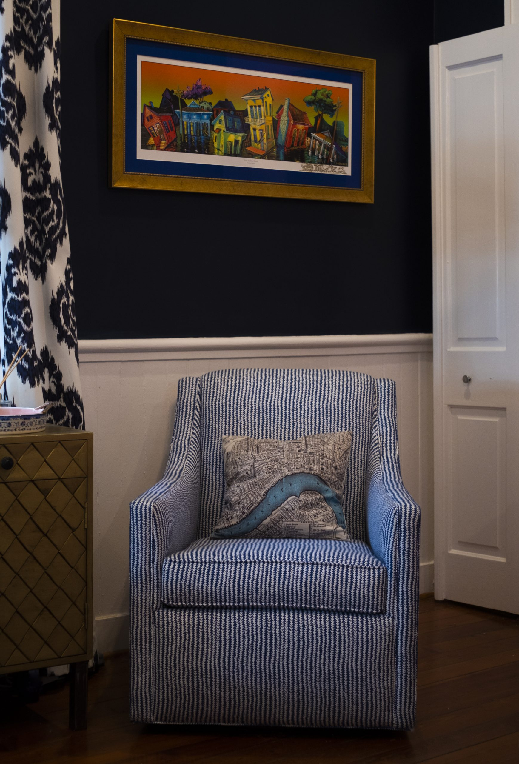 Closeup of Blue and White Pin-Striped Chair, New Orleans Throw Pillow, Vibrant Local Art