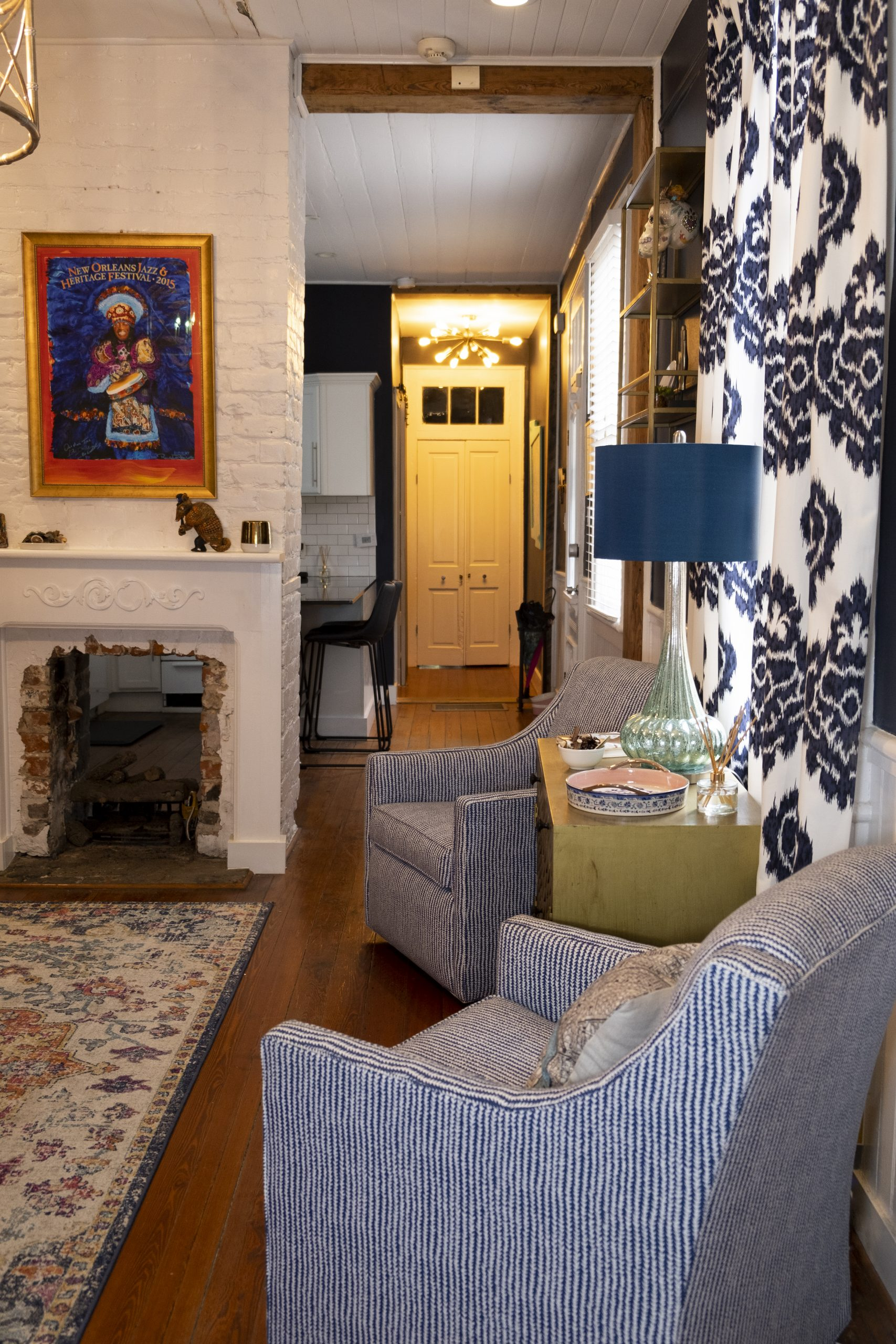 Blue and White Pin-Striped Chairs, Vibrant New Orleans Local Art Fireplace