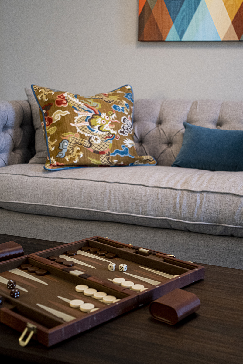 Closeup of Sofa and Table with Board Game