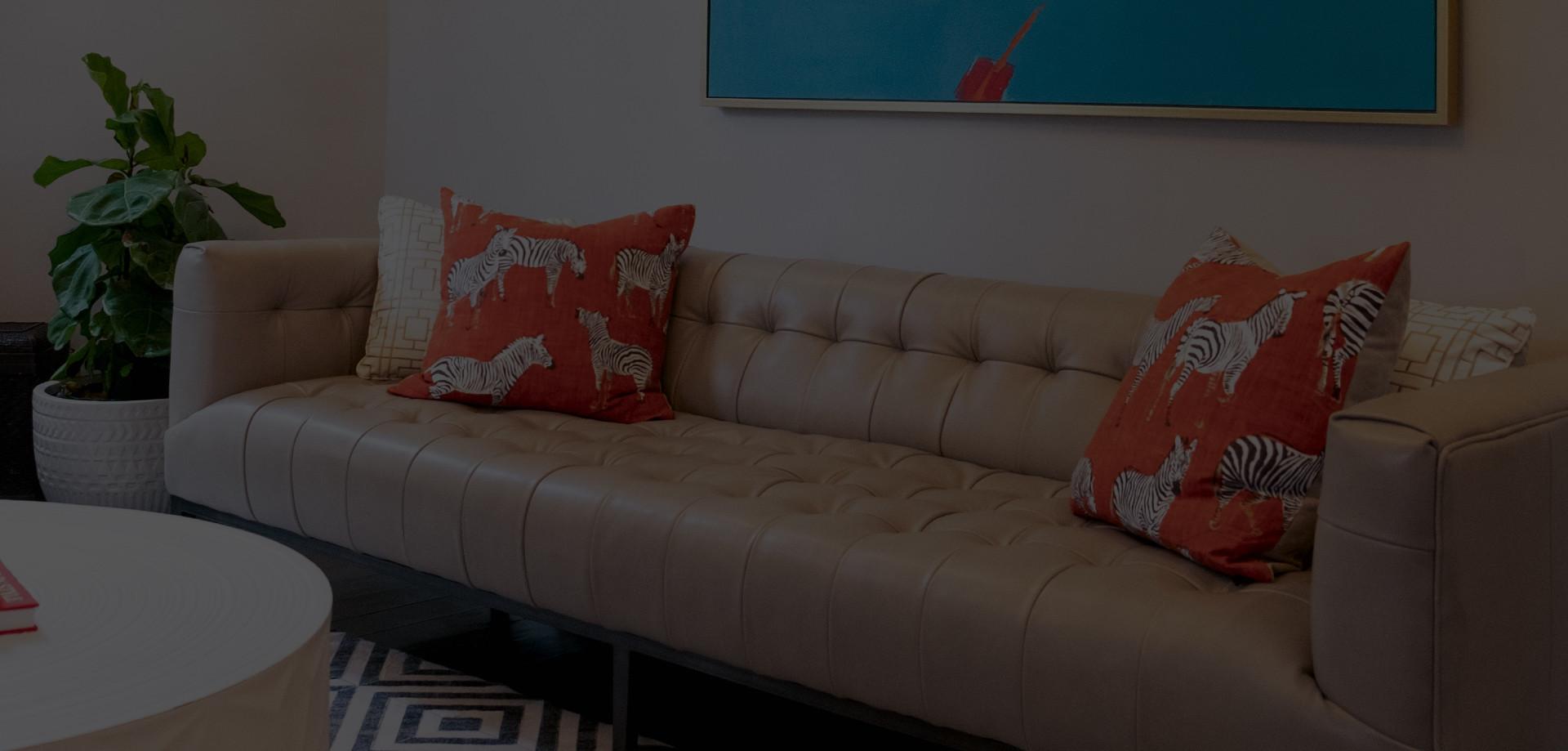 Closeup of Sofa and Coffee Table